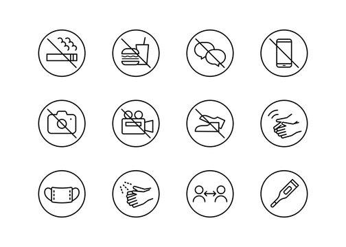 マナーのアイコンセット 注意事項 禁止事項 映画館 コンサート会場 ホール 撮影禁止 禁煙 飲食禁止