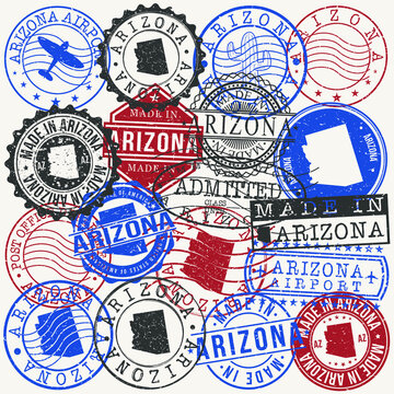 Arizona, USA Set of Stamps. Travel Passport Stamps. Made In Product. Design Seals in Old Style Insignia. Icon Clip Art Vector Collection.