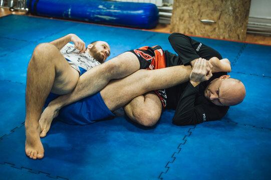 BJJ Brazilian jiu-jitsu ground fight training combat sparing. Leg lock kneebar submission control technique