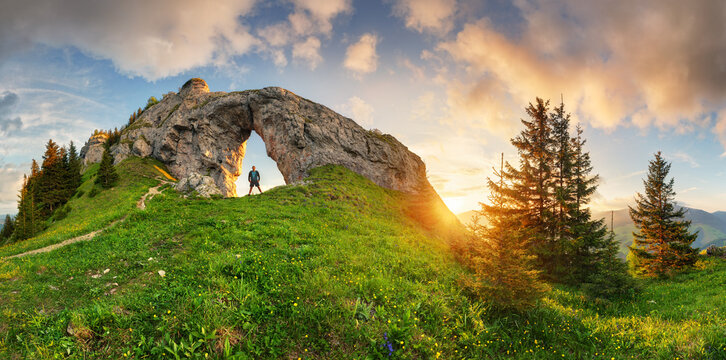 Mountain landscape with big rock at sunset - Low Tatras, Slovakia