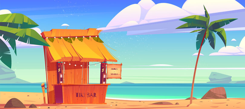 Tiki bar, wooden hut with tribal masks, drinks and snacks on summer beach. Vector cartoon tropical landscape with sea, palm trees and cafe with cocktails. Exotic vacation and travel concept