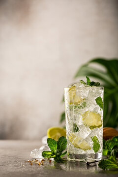 Mojito cocktail with lime and mint in highball glass on a grey background. Summer cold beverages concept with copy space
