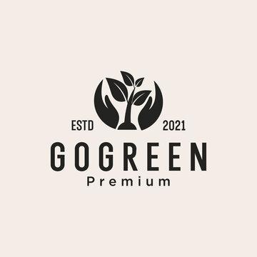 go green nature life logo design vector