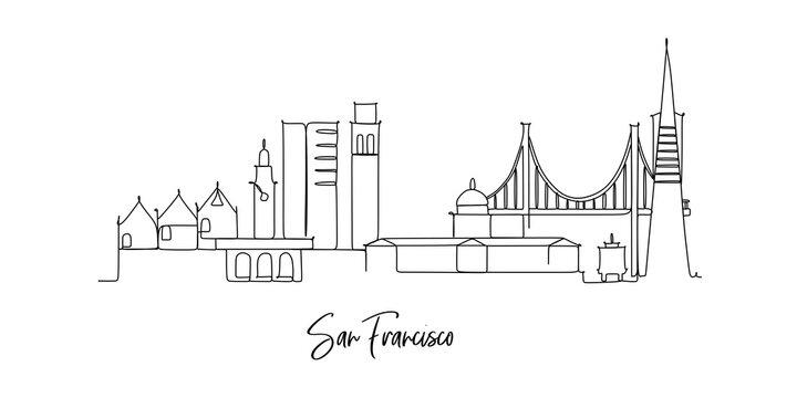 San Jose California USA landmark Skyline - continuous one line drawing