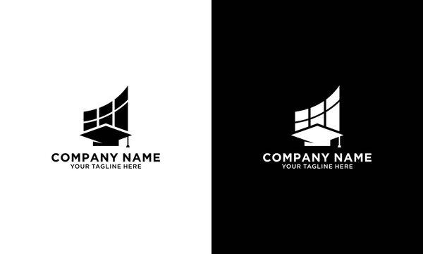 Student loan logo template. Bachelor cap and financial symbol vector design. Education credit illustration