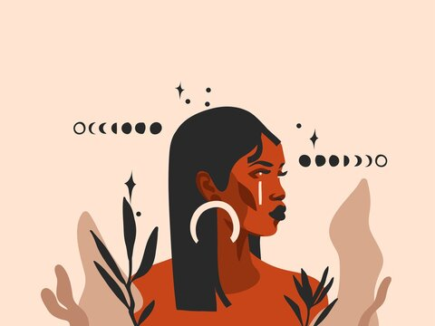 Hand drawn vector abstract stock flat graphic illustration with ethnic tribal black beautiful african american woman,sun and magic moon phases in simple style ,isolated on pastel background