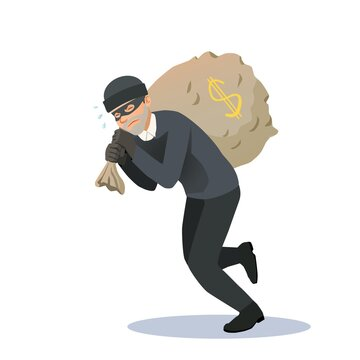The thief has stolen a large bag of money and is carrying it with great difficulty. The criminal steals money.
