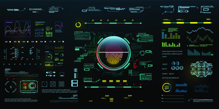 Holographic digital panel with biometric identification technology, fingerprint reader and automatic personal access authorization. HUD style interface