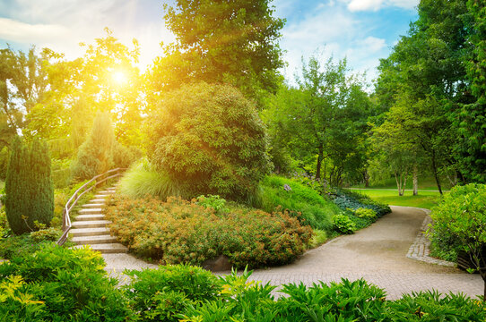An urban garden with lush vegetation, stone path and decorative staircase.