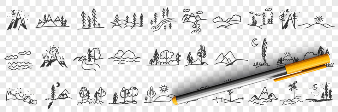 Nature landscapes and scenics doodle set. Collection of hand drawn landscapes of trees forests mountains valleys beach and seascape in silhouettes isolated on transparent background