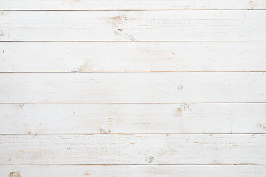 Pine wood plank texture painted with white color in horizontal rows for use as wood pattern, background, backdrop, table top, wall plank, floor plank, etc.
