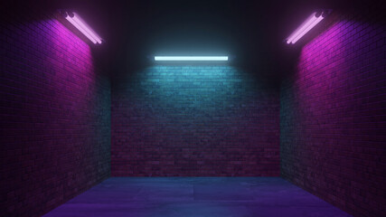 Fototapeta Dark Cyber Sci Fi Background with Neon Lights at Night