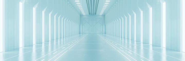 Fototapeta Light corridor in modern cyber sci fi corridor