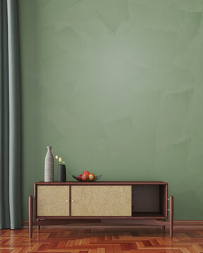 Dresser in front of wall in living room as a poster mock-up