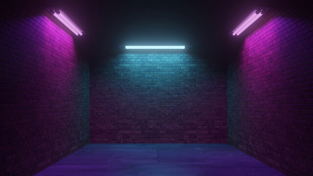 Dark Cyber Sci Fi Background with Neon Lights at Night