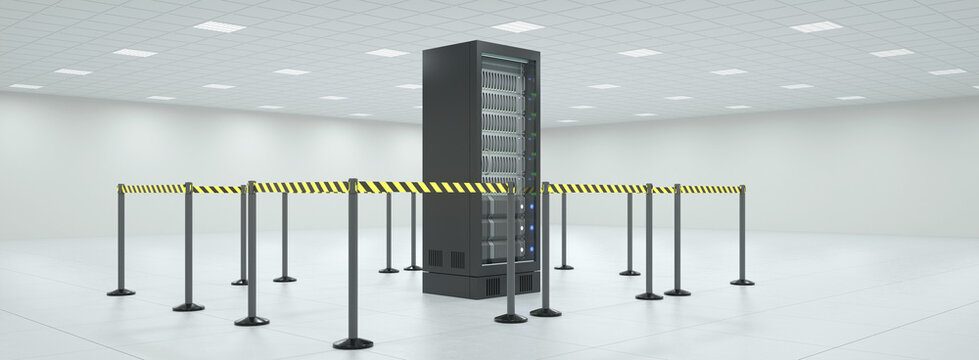 Barrier in the server in the server room for private cloud