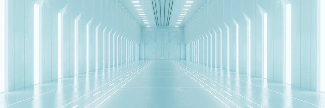 Light corridor in modern cyber sci fi corridor
