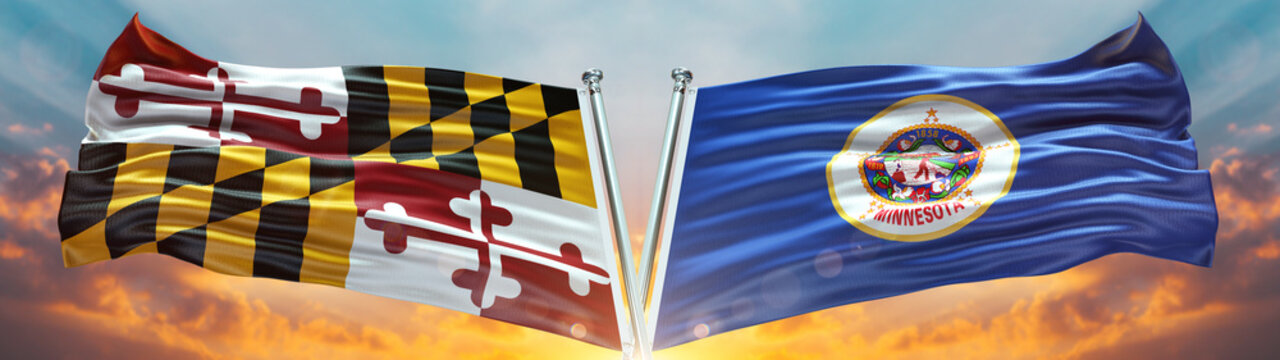 Maryland flag and Minnesota flag States of America waving with texture sky Cloud and sunset double flag