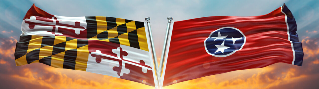Maryland flag and Tennessee flag States of America waving with texture sky Cloud and sunset double flag
