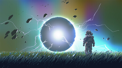 spaceman standing and looking at a mysterious sphere, vector illustration