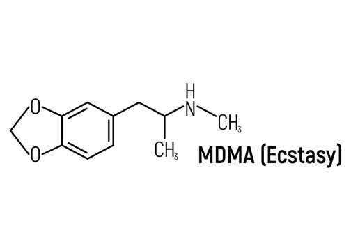 MDMA ecstasy concept chemical formula icon label, text font vector illustration, isolated on white. Periodic element table, addictive drug.