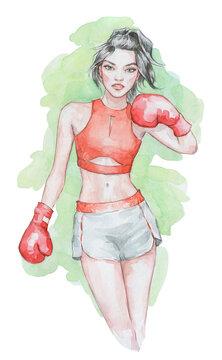 Beautiful young girl boxing
