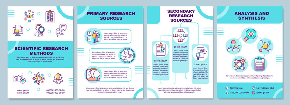 Scientific research methods brochure template. Primary research source. Flyer, booklet, leaflet print, cover design with linear icons. Vector layouts for magazines, annual reports, advertising posters