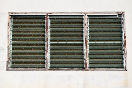 Glass Slat Window in Old Condition