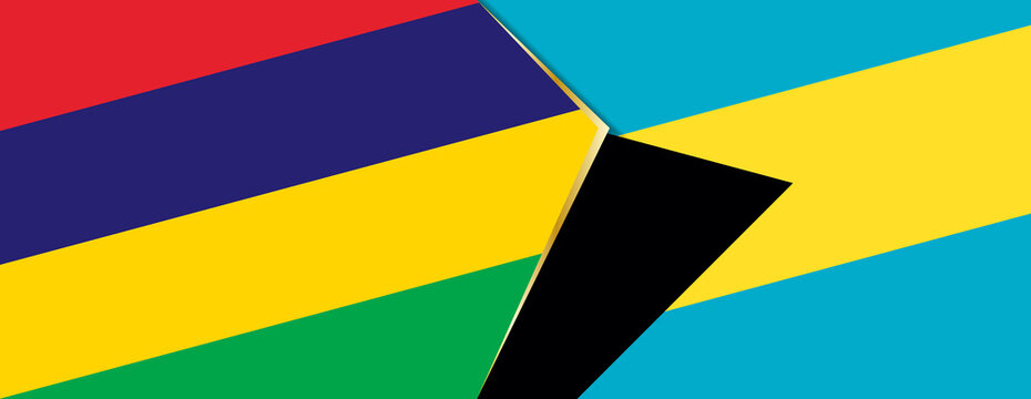 Mauritius and The Bahamas flags, two vector flags.