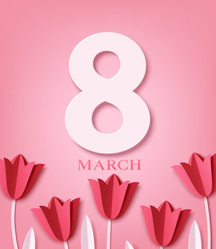 International Women's Day greeting card design template. 8 March concept. Paper red tulips are arranged in a row on pink background.  8 March text. Vector stock illustration.
