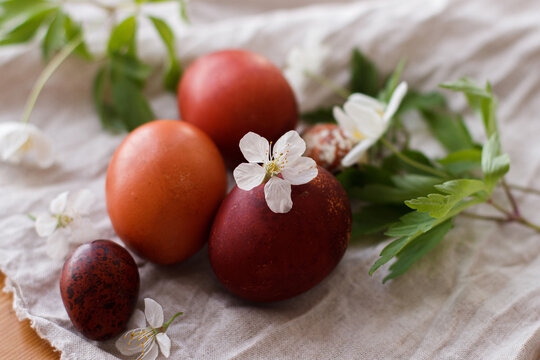 Happy Easter! Modern red easter eggs with spring flowers on rustic linen cloth on wooden table