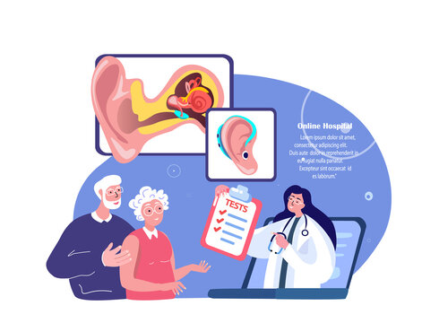 Online Audiologist ENT-Doctor Consultate Old Pensioners Couple Man,Woman Patient.Deaf-Aid,Aerophone,Otitic Hearing Aid,Digital Treatment.ORL Clinic. Internet Medical Hospital Diagnostics. Illustration