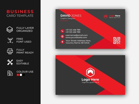 Creative And Clean Business Card Template For company Corporate Style Red Or Black Colors.