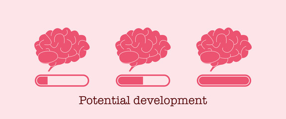Potential development concept. Set of brain loading bar. Mind and knowledge boost. Progress of brain increase. Vector Wall mural