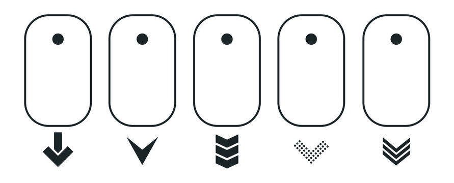 Modern linear pictogram of scroll down on the computer mouse. Concept line icon scroll down. Icons vector set