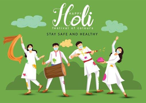 happy Holi. Cartoon Young people Playing Holi On White costume . vector illustration design. covid-19 corona virus concept