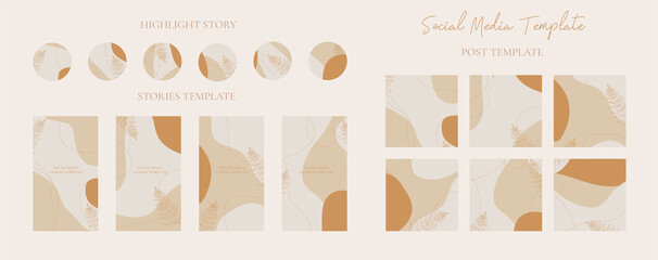 Wall Mural - Vector set of abstract creative backgrounds social media in minimal stories and highlight stories icon with post template easily editable vector