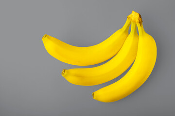 Three yellow bananas on a gray background. The color trend of 2021 is yellow, ultimate gray. Healthy food concept