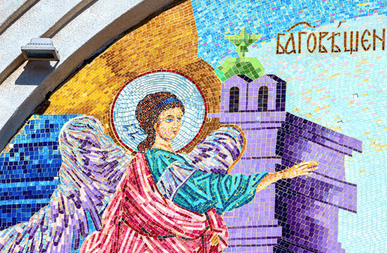 Mosaic icon on the wall of the orthodox temple in honor of the Annunciation