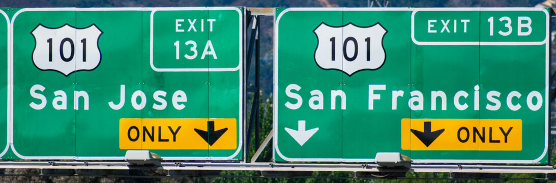 Interstate 101 highway road sign showing drivers the directions, exit number and exit only lane to San Jose and San Francisco in Silicon Valley