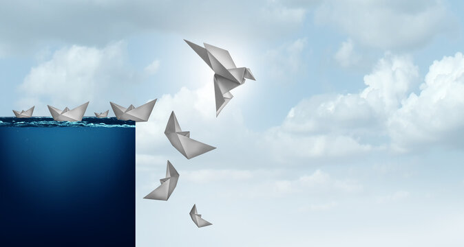 Creative solutions and business innovation solution concept of innovative idea as a paper boat transformed into a bird lifted away from risk