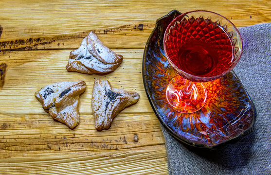 Traditional homemade cookies filling with fruit jam, all intended  for the Jewish festival of Purim