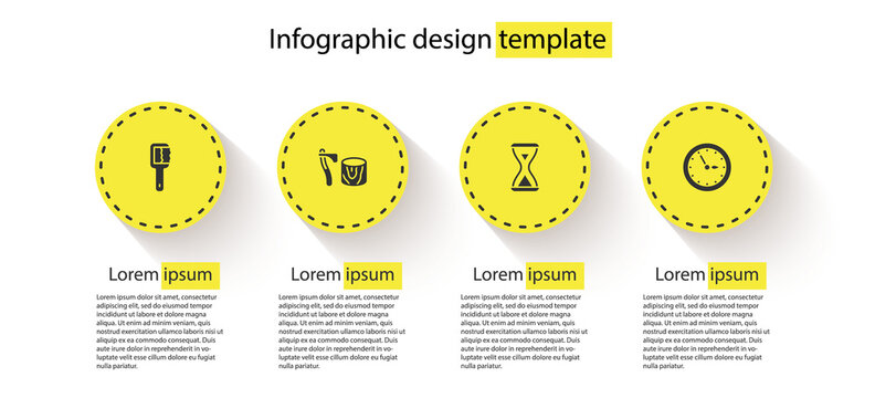 Set Sauna brush, Wooden axe in stump, hourglass and clock. Business infographic template. Vector.