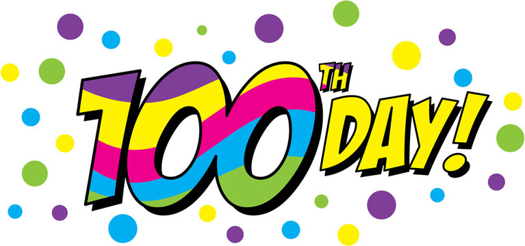 100th Day colorful cartoon graphic