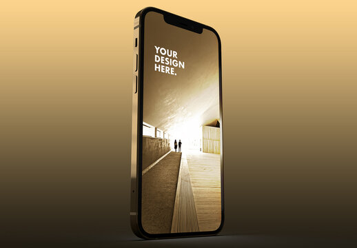 Gold Smartphone Mockup on a Yellow Background