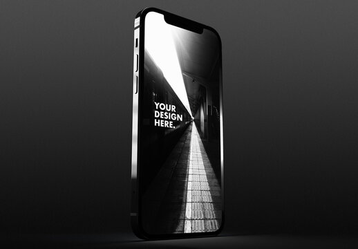 Silver Smartphone Mockup on a Black and White Background