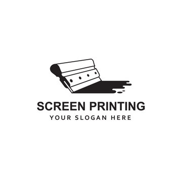 silk screen printing icon with squeegee isolated on white background