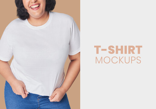 Plus Size Model Wearing White Tee Mockup