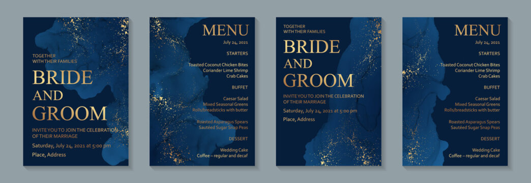 Modern abstract luxury wedding invitation design or card templates for birthday greeting or certificate or cover with navy blue watercolor waves or fluid art in alcohol ink style with golden glitter.