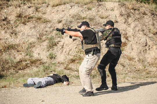 Army Soldiers detachment during complex anti-terrorist exercises. Shooting and weapons. Outdoor shooting range